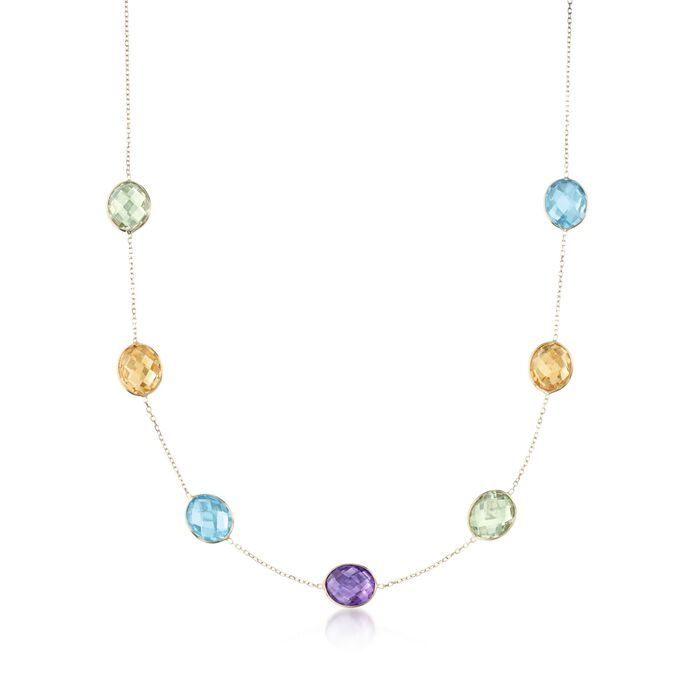 """32.50 ct. t.w. Multi-Stone Station Necklace in 14kt Yellow Gold. 18"""", , default"""