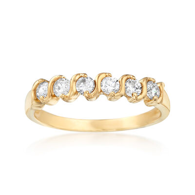 .60 ct. t.w. CZ Sash Ring in 14kt Yellow Gold, , default