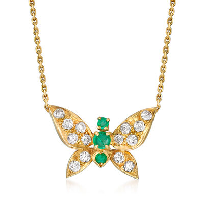 C. 1980 Vintage .55 ct. t.w. Diamond and .25 ct. t.w. Emerald Butterfly Necklace in 18kt Yellow Gold