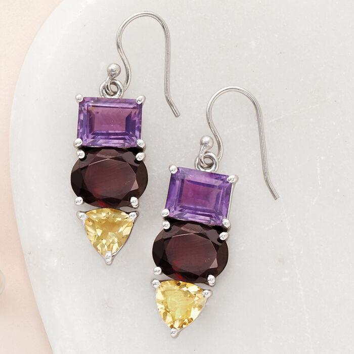 13.80 Multi-Stone Drop Earrings with Sterling Silver