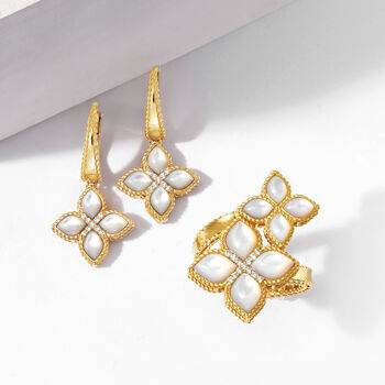 """Roberto Coin """"Venetian Princess"""" Mother-Of-Pearl Drop Earrings with Diamond Accents in 18kt Gold"""