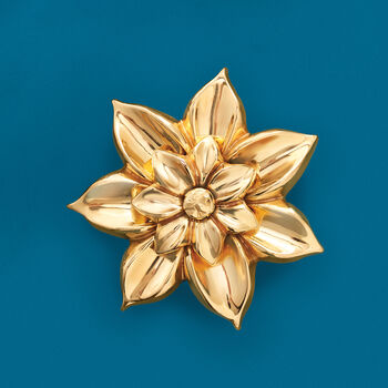 Italian 18kt Yellow Gold Flower Pin, , default