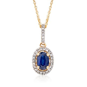 ".60 Cart Sapphire and .12 ct. t.w. Diamond Pendant Necklace in 14kt Yellow Gold. 18"", , default"