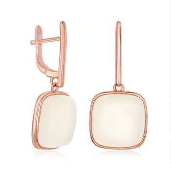 Cabochon Moonstone Drop Earrings in 18kt Rose Gold Over Sterling