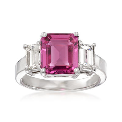 3.70 Carat Pink Sapphire and .92 ct. t.w. Diamond Ring in 18kt White Gold, , default
