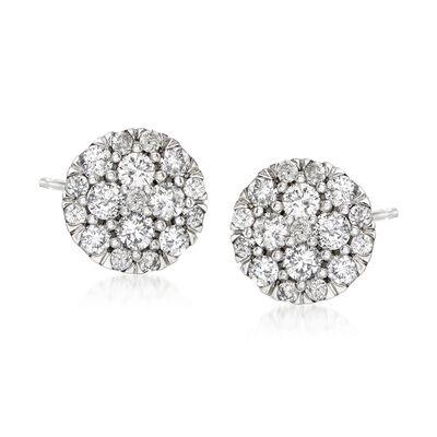 .50 ct. t.w. Diamond Cluster Stud Earrings in 14kt White Gold