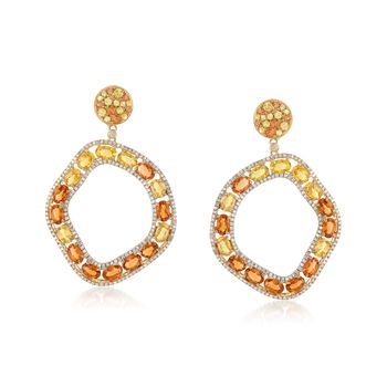 10.90 ct. t.w. Orange and Yellow Sapphire Open Circle Drop Earrings With 1.10 ct. t.w. Diamonds in 18kt Yellow Gold , , default