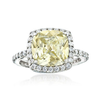 3.40 ct. t.w. Yellow and White CZ Ring in Sterling Silver, , default