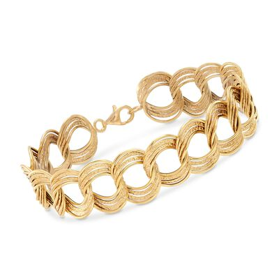 Italian 14kt Yellow Gold Textured and Polished Circle-Link Bracelet, , default