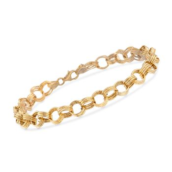 """Italian 14kt Yellow Gold Textured and Polished Circle-Link Bracelet. 7"""", , default"""