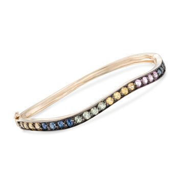 """2.80 ct. t.w. Multicolored Sapphire Wavy Bangle Bracelet in 14kt Yellow Gold. 7"""", , default"""