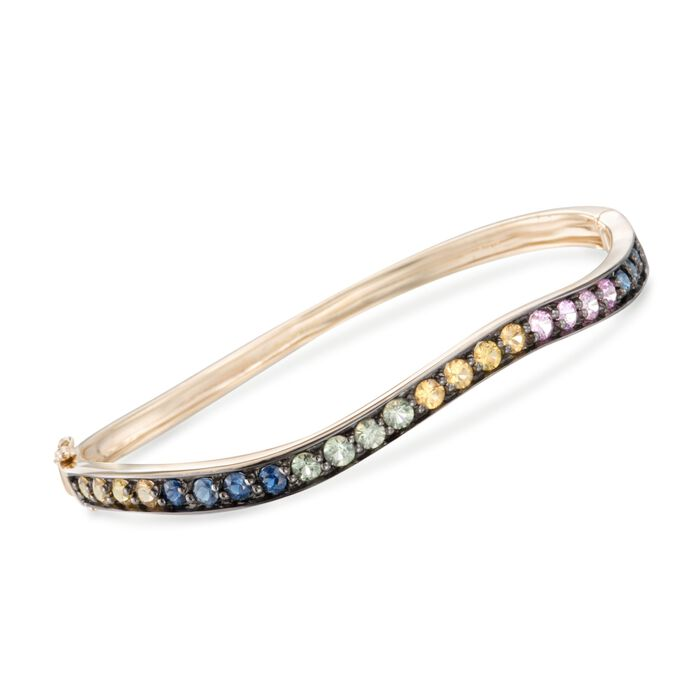 2.80 ct. t.w. Multicolored Sapphire Wavy Bangle Bracelet in 14kt Yellow Gold, , default