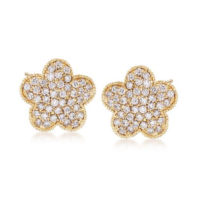 .79 ct. t.w. Diamond Flower Stud Earrings in 14kt Yellow Gold, , default