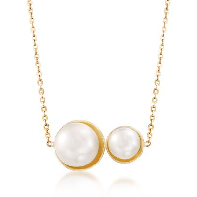Italian 6.5-9mm Cultured Double Pearl Necklace in 14kt Yellow Gold, , default