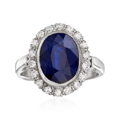 C. 1970 Vintage 5.55 Carat Ceylon Sapphire and .45 ct. t.w. Diamond Ring in 14kt White Gold, , default