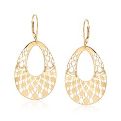 Italian 14kt Yellow Gold Pear-Shaped Openwork Drop Earrings, , default