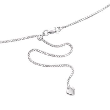 "Italian 1.4mm Sterling Silver Adjustable Slider Flat Diamond-Cut Popcorn Chain Necklace. 24"", , default"