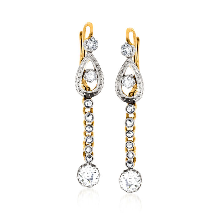 C. 1930 Vintage 1.50 ct. t.w. Diamond Drop Earrings in Platinum and 18kt Yellow Gold