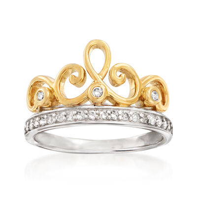 .25 ct. t.w. Diamond Tiara Ring in Sterling Silver and 18kt Gold Over Sterling
