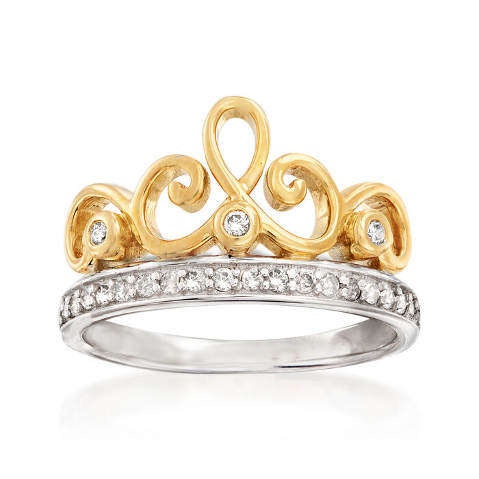 .25 ct. t.w. Diamond Tiara Ring in Sterling Silver and 18kt Gold Over Sterling, , default