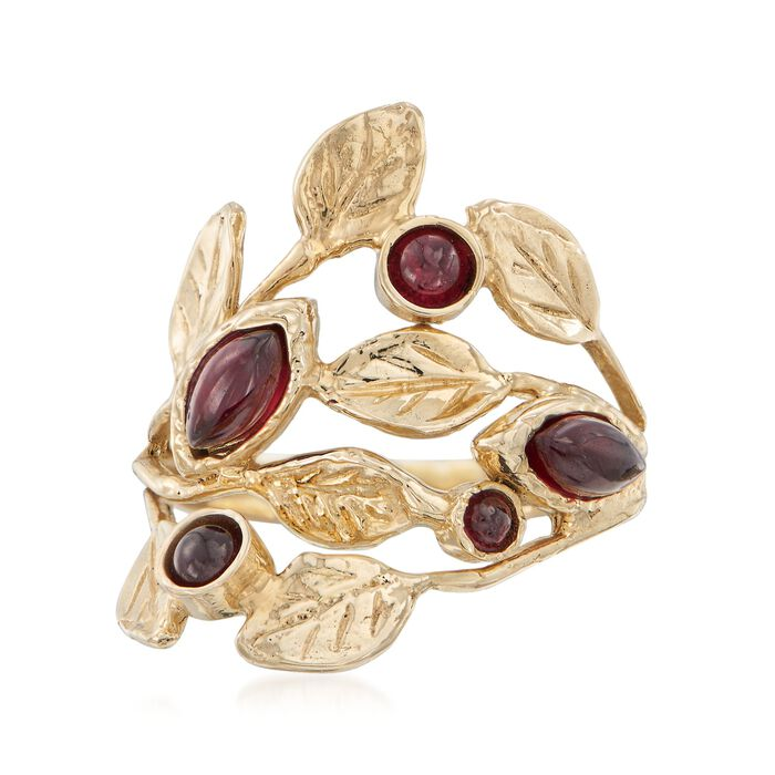 1.30 ct. t.w. Garnet Leaf Ring in 14kt Yellow Gold, , default
