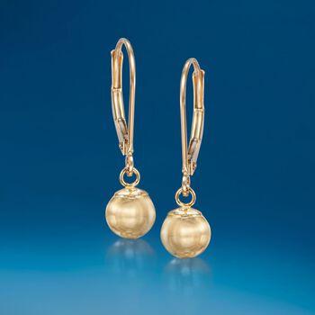 6mm 14kt Yellow Gold Shiny Bead Drop Earrings, , default