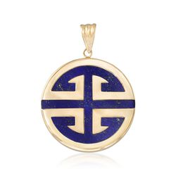 "Blue Lapis ""Longevity"" Chinese Symbol Circle Pendant in 14kt Gold, , default"