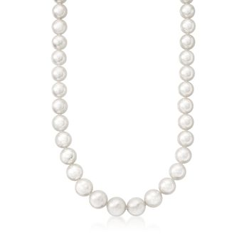 "Mikimoto 9x7mm A1 Akoya Pearl Necklace With 18kt White Gold. 18"", , default"