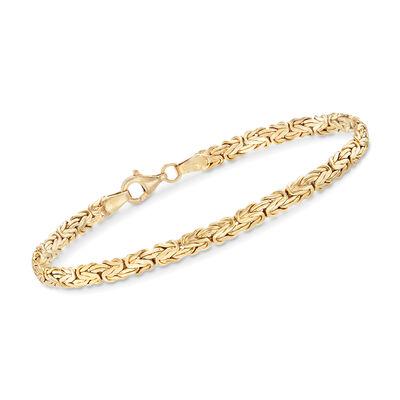 18kt Gold Over Sterling Silver Flat Byzantine Bracelet, , default