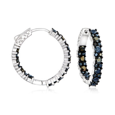 3.80 ct. t.w. Black Spinel Inside-Outside Hoop Earrings in Sterling Silver, , default