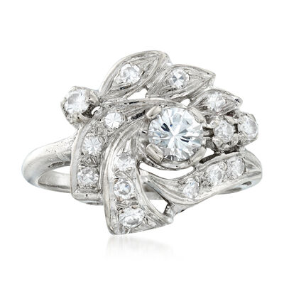C. 1950 Vintage .85 ct. t.w. Diamond Cluster Ring in 14kt White Gold, , default