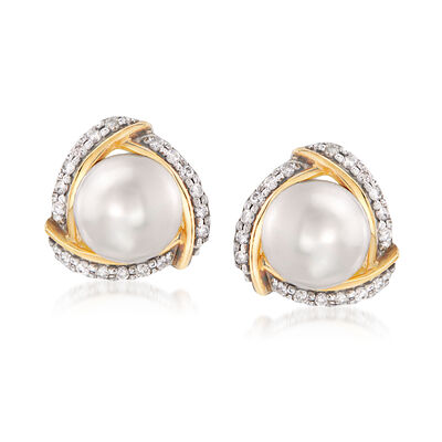 8-8.5mm Cultured Pearl and .28 ct. t.w. Diamond Earrings in 14kt Yellow Gold
