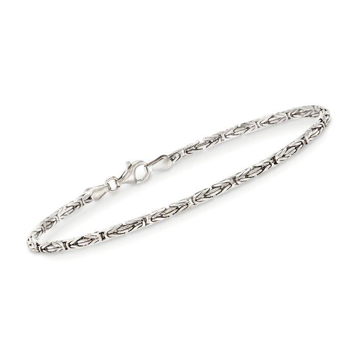 """2.4mm Sterling Silver Byzantine Bracelet. 8"""""""