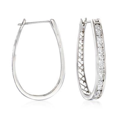 1.50 ct. t.w. Channel-Set Diamond Oval Hoop Earrings in 14kt White Gold, , default