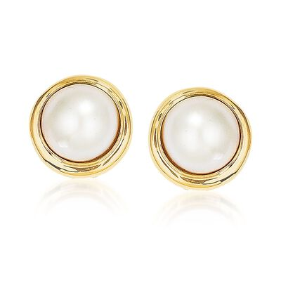 10-11mm Cultured Mabe Pearl Earrings in 14kt Yellow Gold