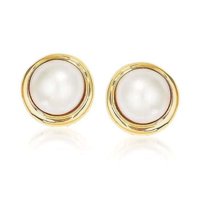 10-11mm Cultured Mabe Pearl Earrings in 14kt Yellow Gold, , default