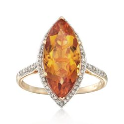 4.40 Carat Marquise Citrine and .22 ct. t.w. Diamond Ring in 14kt Yellow Gold, , default