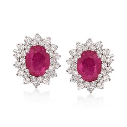3.30 ct. t.w. Ruby and 1.40 ct. t.w. Diamond Earrings in 18kt White Gold, , default