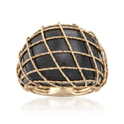 Italian Black Ruthenium-Plated 14kt Yellow Gold Dome Ring, , default