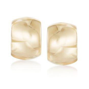 """Italian 18kt Yellow Gold Wide Polished Hoop Earrings. 1/2"""", , default"""