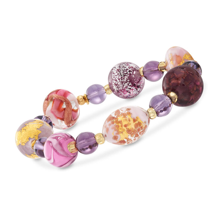 Italian Multicolored Murano Glass Bead Stretch Bracelet in 18kt Yellow Gold Over Sterling