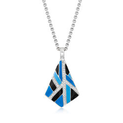 "Belle Etoile ""Delano"" Blue and Black Enamel and .20 ct. t.w. CZ Pendant in Sterling Silver, , default"