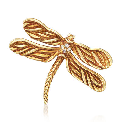 C. 1970 Vintage Dragonfly Pin With Diamonds in 18kt Yellow Gold, , default