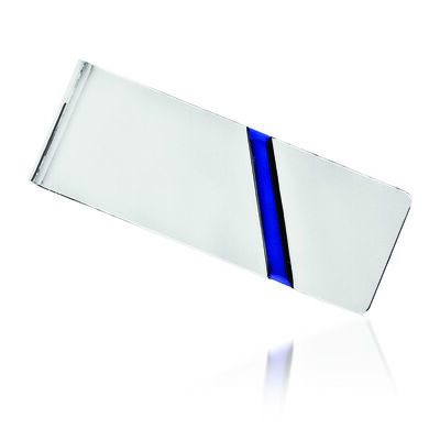 Sterling Silver  Blue Enameled Three-Initial Engravable Money Clip, , default