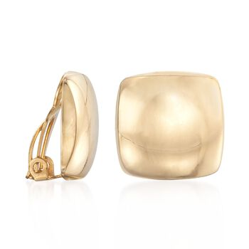 14kt Yellow Gold Puffed Square Clip-On Earrings, , default