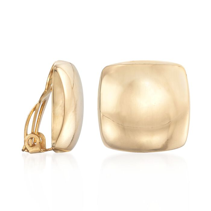 14kt Yellow Gold Puffed Square Clip-On Earrings