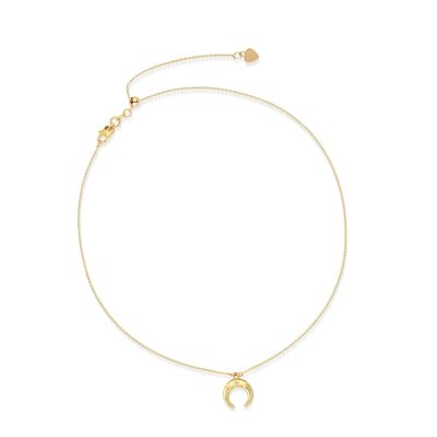 14kt Yellow Gold Moon Choker Necklace with Diamond Accent, , default