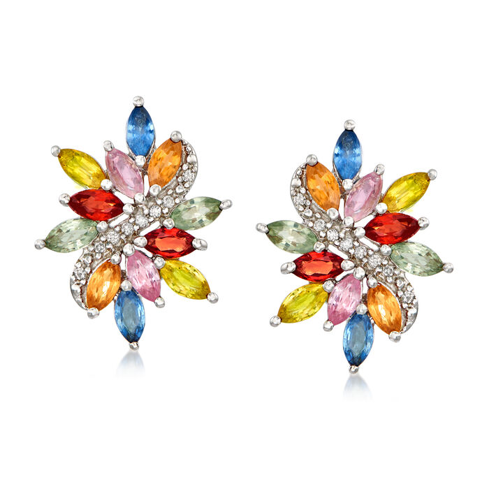 4.70 ct. t.w. Multicolored Sapphire and .12 ct. t.w. Diamond Earrings in Sterling Silver, , default