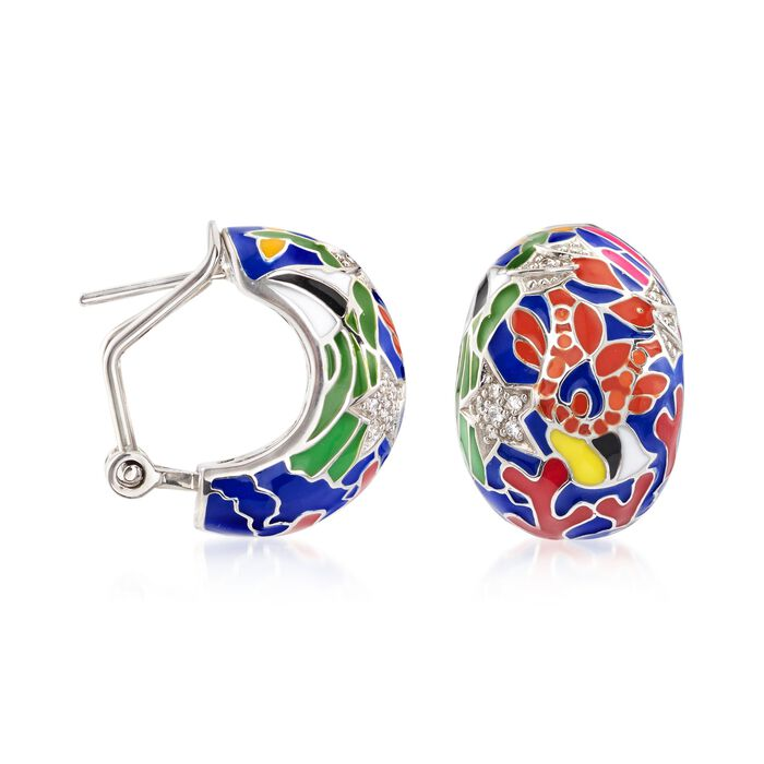 "Belle Etoile ""Seahorse"" Multicolored Enamel and .15 ct. t.w. CZ Half-Hoop Earrings in Sterling Silver"