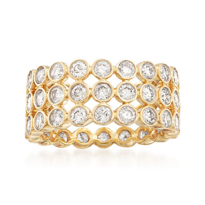 3.00 ct. t.w. Bezel-Set Diamond Three-Row Eternity Band in 14kt Yellow Gold, , default
